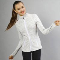 """lululemon""Sports show hand-picked stretch yoga cardigan jacket zipper cultivate one's morality White-Grey"