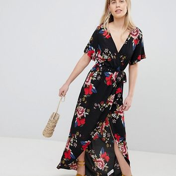 New Look Printed Wrap Short Sleeve Midi Dress at asos.com
