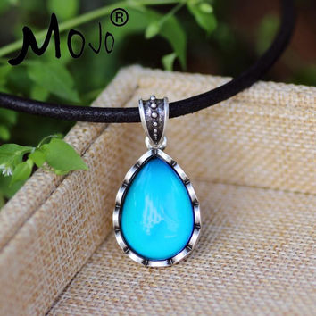 Mojo Classic Design Sterling Antique Silver Water Drop Shaped Mood Pendant Leather Rope Mood Color Change Necklace MJ-SNK003