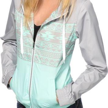 Empyre Sutton Mint Tribal Windbreaker Jacket