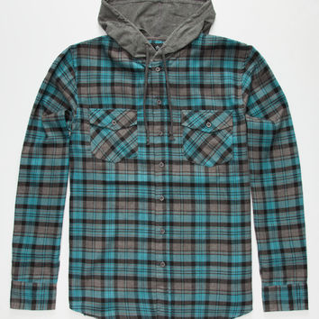 Shouthouse Edgemont Mens Hooded Flannel Shirt Turquoise  In Sizes