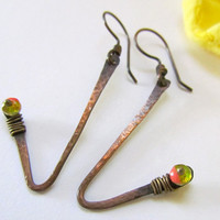 Copper Earrings, rustic fashion, unusual form, hammered, Czech glass