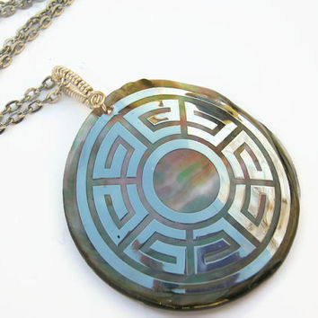 Crop Circle Necklace, Mother Of Pearl Pendant Necklace, Sacred Geometry Silver Wire Wrapped Necklace, Greek Key Pattern, Choose Length, CCS1