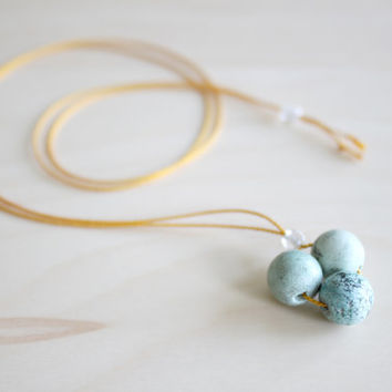 Dainty turquoise necklace/ geometric necklace/ december birthstone necklace/ silk lace necklace