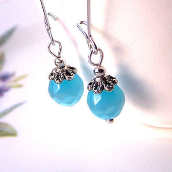 Bright Blue Earrings, Azure Turquoise Sparkly Cats Eye Beads, Elegant Long Dangle Earrings, Fresh, Pretty
