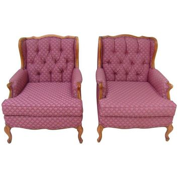 Pre-owned Mid-Century French Bergere Wingback Chairs