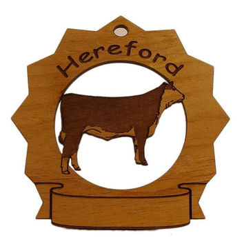 Hereford Cow Standing Personalized Farm Ornament