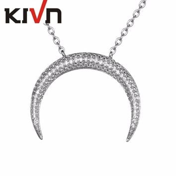 KIVN Fashion Jewelry Pave CZ Cubic Zirconia Womens Girls Cute Horn Wedding Pendant Necklaces Promotion Christmas Birthday Gifts