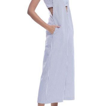 ENGLISH FACTORY | Oxford Jumpsuit - Blue/White