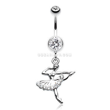 Elegant Ballerina Belly Button Ring (Clear)