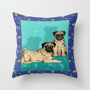 Pugs - by Nina Lyman of Dogs By Nina Throw Pillow by Cats and Dogs by Nina Lyman