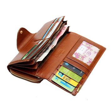 Fashion Brand Long Genuine Leather Women's Wallets Coin Purse Trifold Female Wallet Organizer Clutches cell Phone Holder Wallet