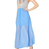 Solid Skirt Chiffon Maxi Dress