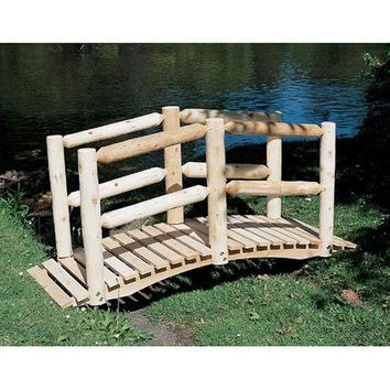 Outdoor 5-Ft Cedar Wood Garden Bridge with Log Style Hand Rails