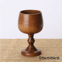 High-grade 5pcs creative unique rubber wood tall classic red wine wooden cup handmade wine cup