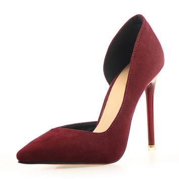 two-Piece Pointed Toe pu High Heels Fashion Sexy red bottom High Heel Shoes Women Pumps party wedding shoes Pumps 7 colors