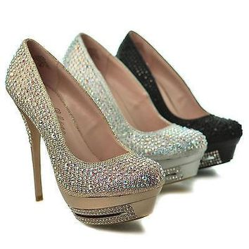 Veronica1 By Blossom, Round Toe Dress Rhinestone Encrusted Platform Stiletto Heel Sandals
