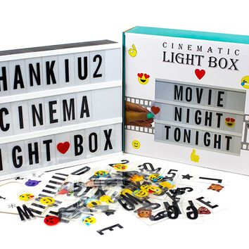 Vintage Cinematic Light Up Sign With 192 Letters, Numbers, Symbols & Emojis