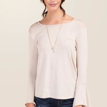 Beth Bell Sleeve Hacci Knit Top