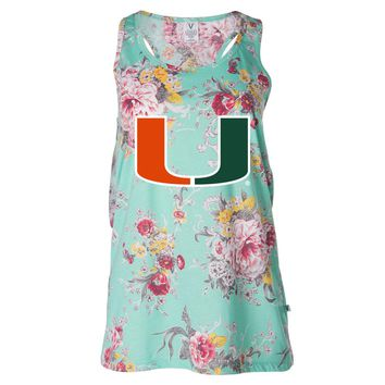 Official NCAA University of Miami Hurricanes - RYLMIA06 Women's Floral Racerback Tank