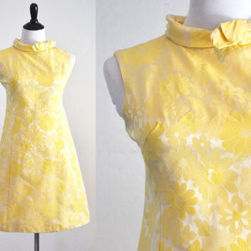 1960s Yellow Brocade Mini Dress Daisies Flower Power