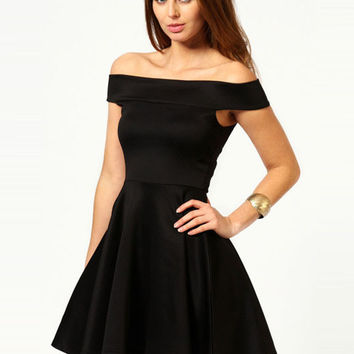Off Shoulder Pleated Skater Mini Dress