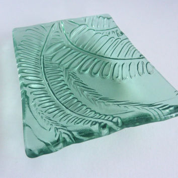 Pale Blue Green Glass Fern Leaf Imprint Plate