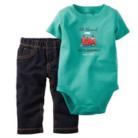 Carter's ''Off To Grandma's'' Train Bodysuit & Pants Set - Baby Boy, Size: