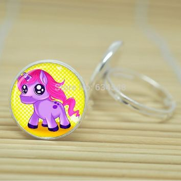 Cartoon Unicorn Ring Glass Cabochon Adjustable Silver or Antique Bronze Color Metal