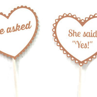 He Asked She Said Yes Engagement Cupcake Topper,Bridal Cupcake Decor,Engagement Cupcakes,Bridal Shower Decor,Engagement Party Cupcake Topper