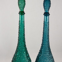Teal Blue and Blue Green Bubble Decanters - Set of Two, Available Individually - Genie Bottles