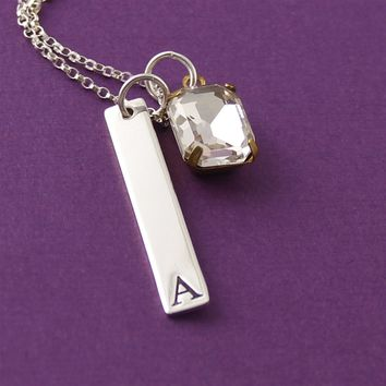 Initial Rhinestone Necklace - Spiffing Jewelry