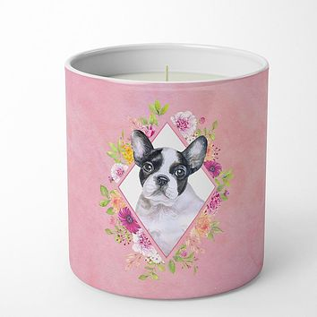 French Bulldog Pink Flowers 10 oz Decorative Soy Candle CK4143CDL