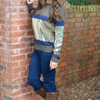 Sparkles And Stripes Sweater: Multi | Hope's