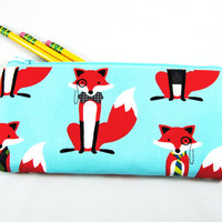 Dapper red fox on Aqua blue background pencil case, makeup brush bag, cosmetic case, zipper pouch