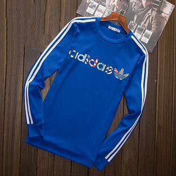 """""""Adidas"""" Multi-color Letter and Logo Print Long Sleeve Sweater(5-Color) Blue I-YSSA-Z"""