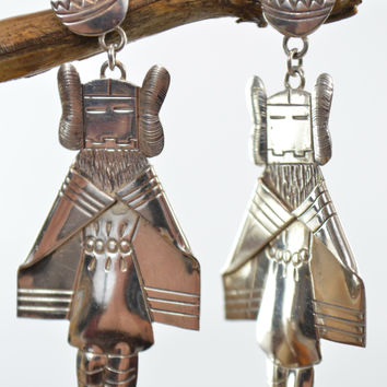 Sterling Silver Earrings Native American Dangling Dancer with Water Vase