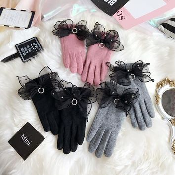 2017 Fashion Winter Women Cashmere Wool Warm Touchscreen Gloves Driving Mittens Black Pink Elegant Ladies Female Gloves AGB609