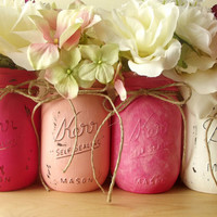 Hand Painted Mason Jars, Four - Pint size Painted Mason Jars, Rustic - Style Jars