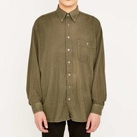 Urban Renewal Vintage Customised Olive Overdyed Heavy Cotton Shirt - Urban Outfitters