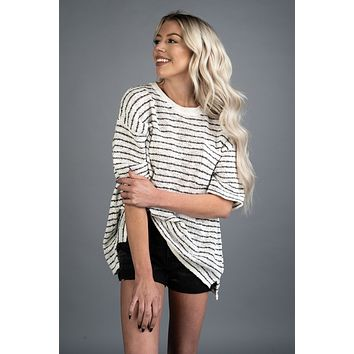 Charcoal and White Pin Stripe Sweater Knit Pocket Tee