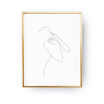 Sensual Woman Pose, Woman Body, Sketch Art, Fine Line, Minimal Illustration, Woman Art, Black And White, Minimal Art, Simple Fashion Print