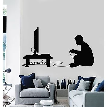 Vinyl Wall Decal Boy Video Game Room Joystick TV Gamer Stickers Mural (g2702)