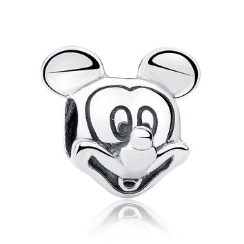 Gift Sterling Silver 925 Lover Cute Mickey Shape Charms and beads Fit Pandora  Bracelet & Necklace Jewelry Accessories WEUS196