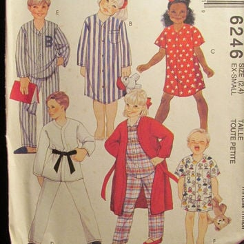 Sale Uncut 1992 McCall's Sewing Pattern, 6246! 2-4 Toddler/Girls/Boys/Kids/Child/Karate costume/Short or Long Robe/Long Night Shirt/Pajamas