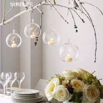 10PCS/Lot 80MM Hanging Tealight Holder Glass Globes Terrarium Wedding Candle Holder Candlestick Vase Home Hotel Bar Decoration