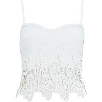 River Island Womens Cream crochet zip back bralet