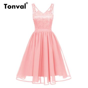 Tonval Vintage Pink Sexy V Neck Chiffon Summer Dress Women Backless Retro Brand 2018 Party Pleated Swing Dresses