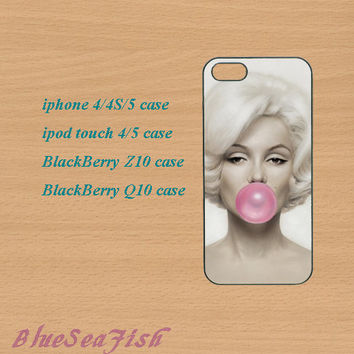 iphone 4 case,iphone 5 case,ipod touch 4 case,ipod touch 5 case,Blackberry z10 case,Blackberry q10--Marilyn Monroe,in plastic and silicone