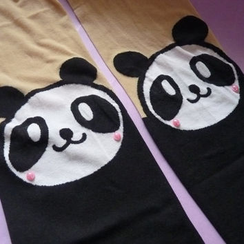Cute Panda Black White Bear Knee High Hosiery Pantyhose Tattoo Socks Leggings Tights Stockings Kawaii